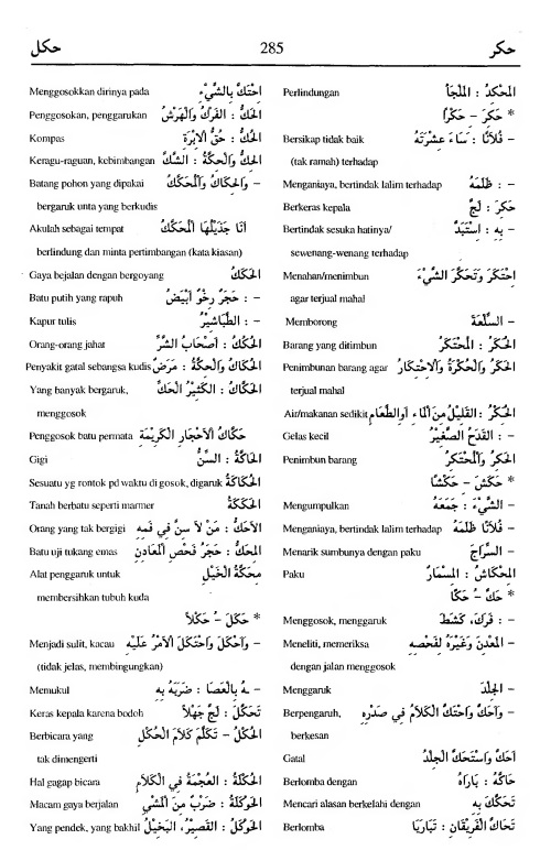 285. kamus arab almunawir -hakara-hakala