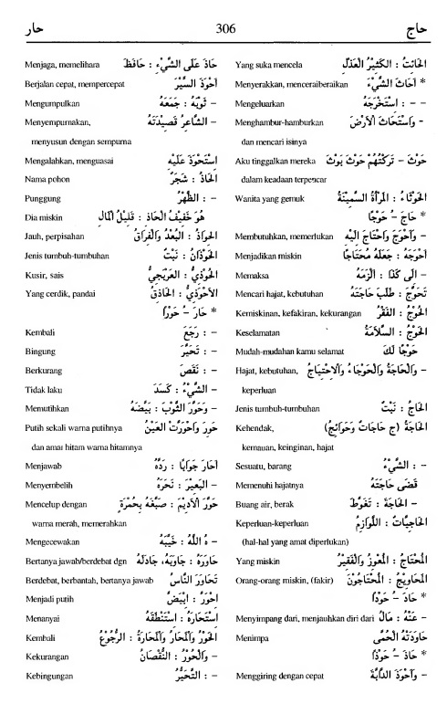 306. kamus arab almunawir -haaja-haara