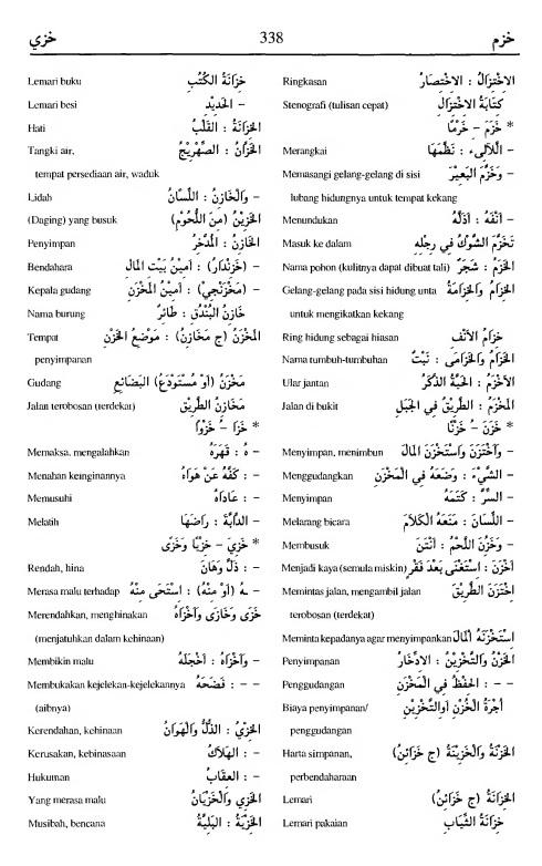 338. Kamus Bahasa Arab Al-Munawir - khazama-khazaya