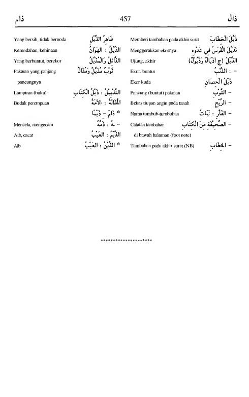 457. kamus arab almunawir -dzaala-dzaama