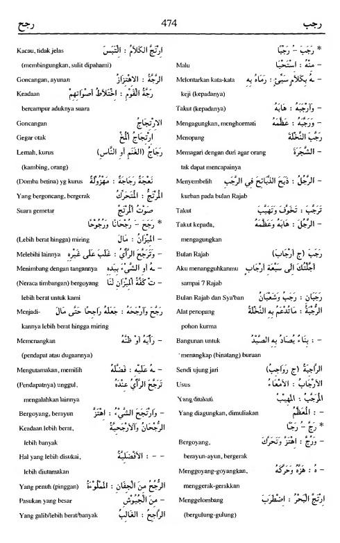 474. Kamus Bahasa Arab Al-Munawir - rajaba-rajaha