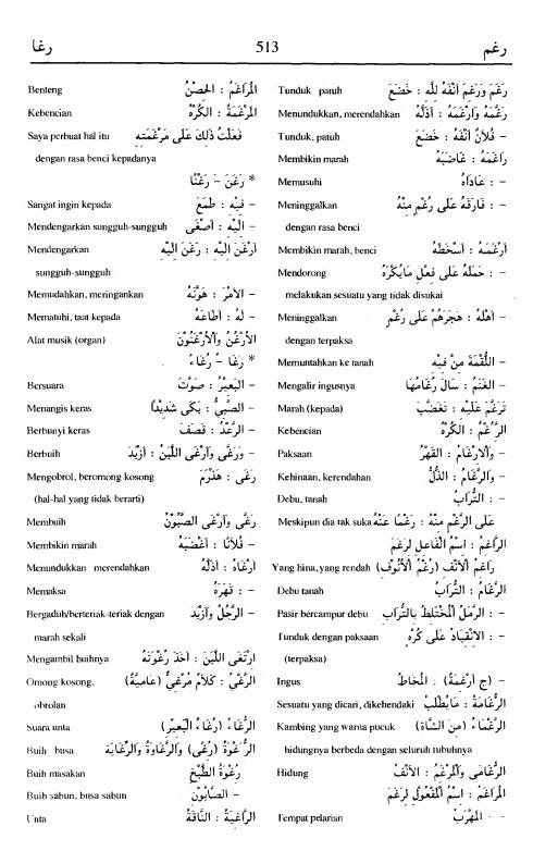 513. Kamus Bahasa Arab Al-Munawir - raghama-raghaa