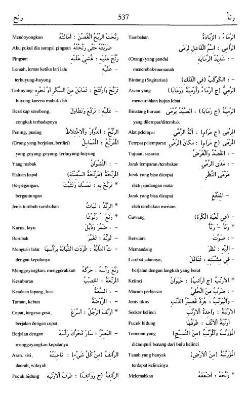537. Kamus Bahasa Arab Al-Munawir - rana-a--rana'a