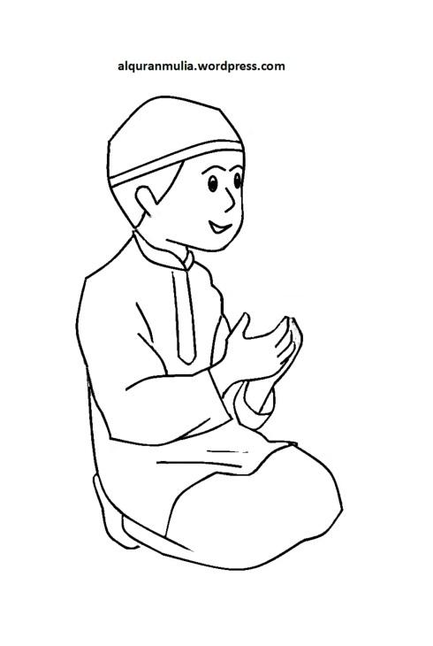 Mewarnai gambar kartun anak muslim 32