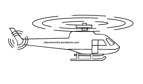 Mewarnai gambar helikopter 2 anak muslim