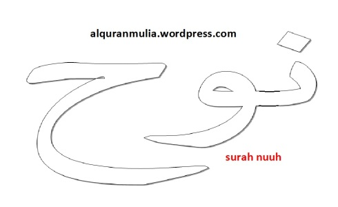 mewarnai gambar kaligrafi nama surah nuuh