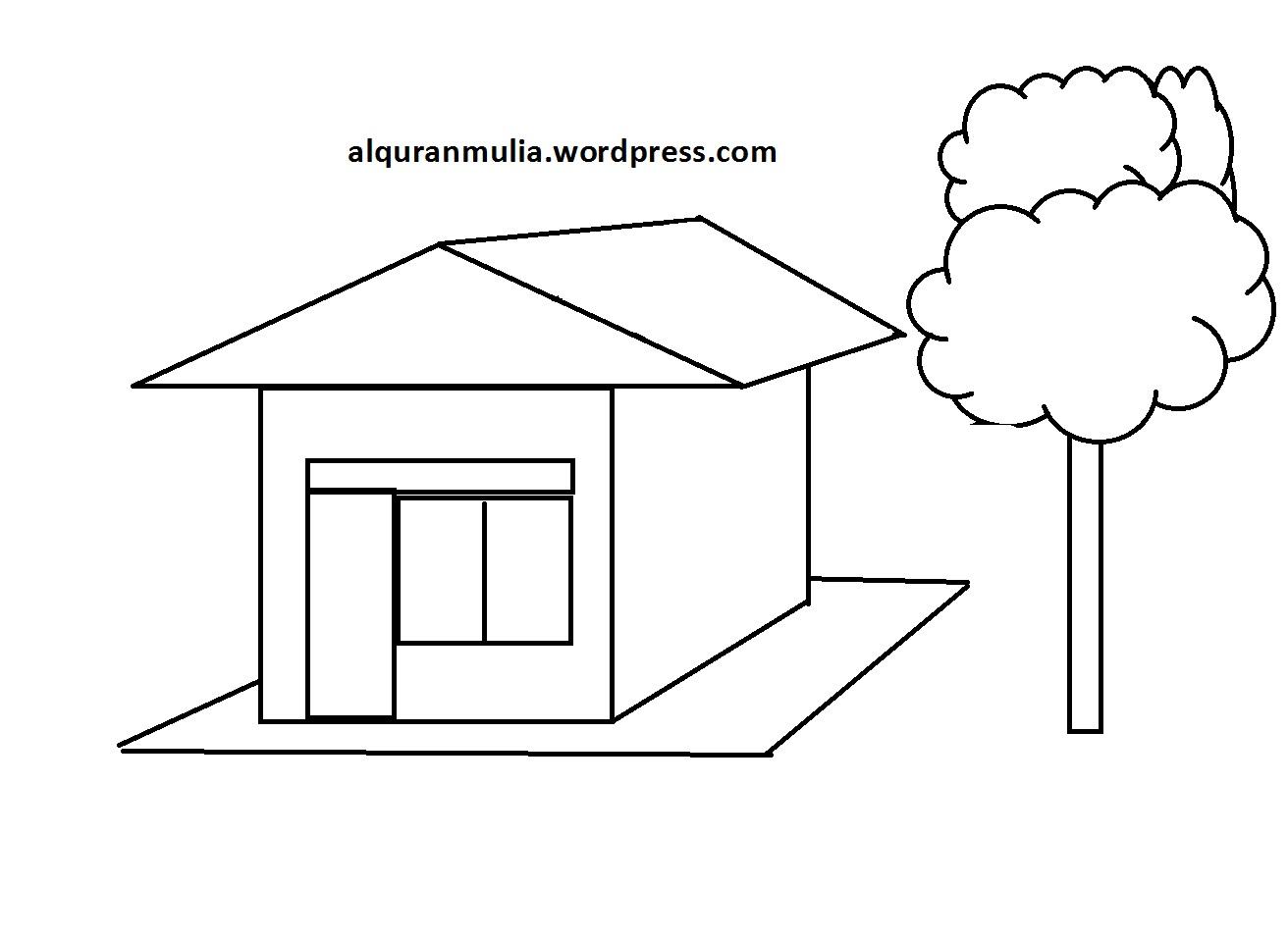Mewarnai Gambar Rumah3 Anak Muslim