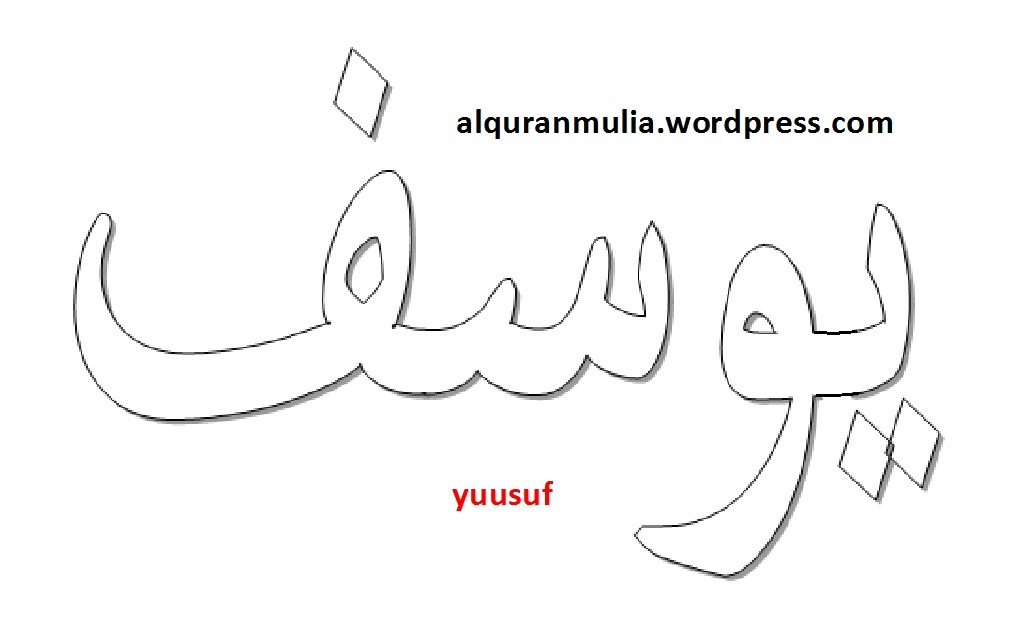 Mewarnai Gambar Kaligrafi Nama Surah Yusuf Alquranmulia
