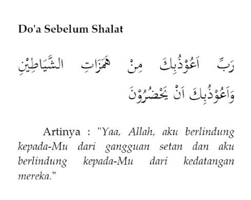 Do'a Sebelum Shalat