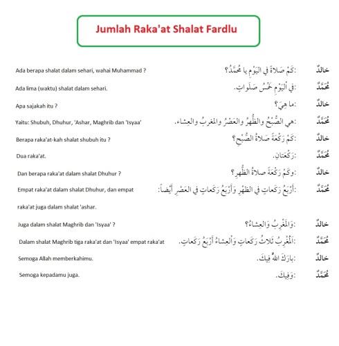 Hiwar, percakapan bahasa arab, jumlah rakaat shalat fardlu