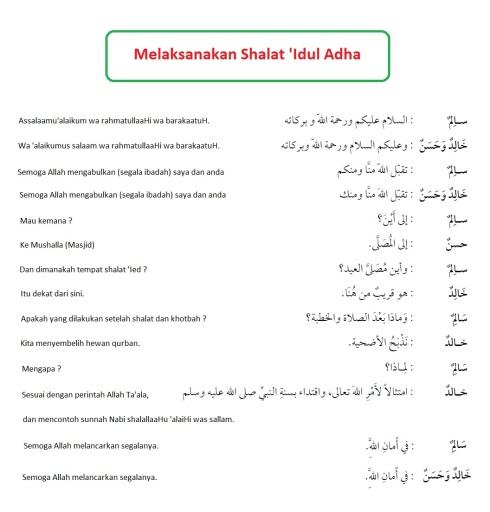 Hiwar percakapan bahasa arab, melaksanakan shalat idul adha
