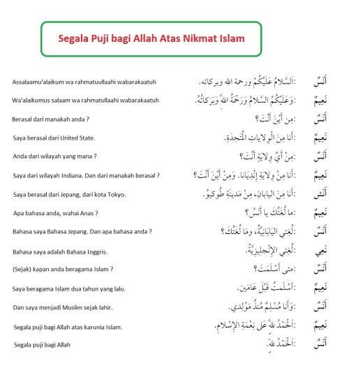 hiwar, percakapan bahasa arab, segala puji bagi Allah atas nikmat Islam