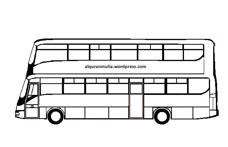 Mewarnai Gambar Bus 5 Anak Muslim Alqur Anmulia