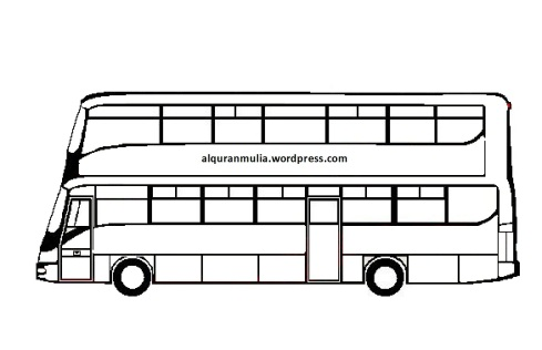 Mewarnai gambar bus5 anak muslim