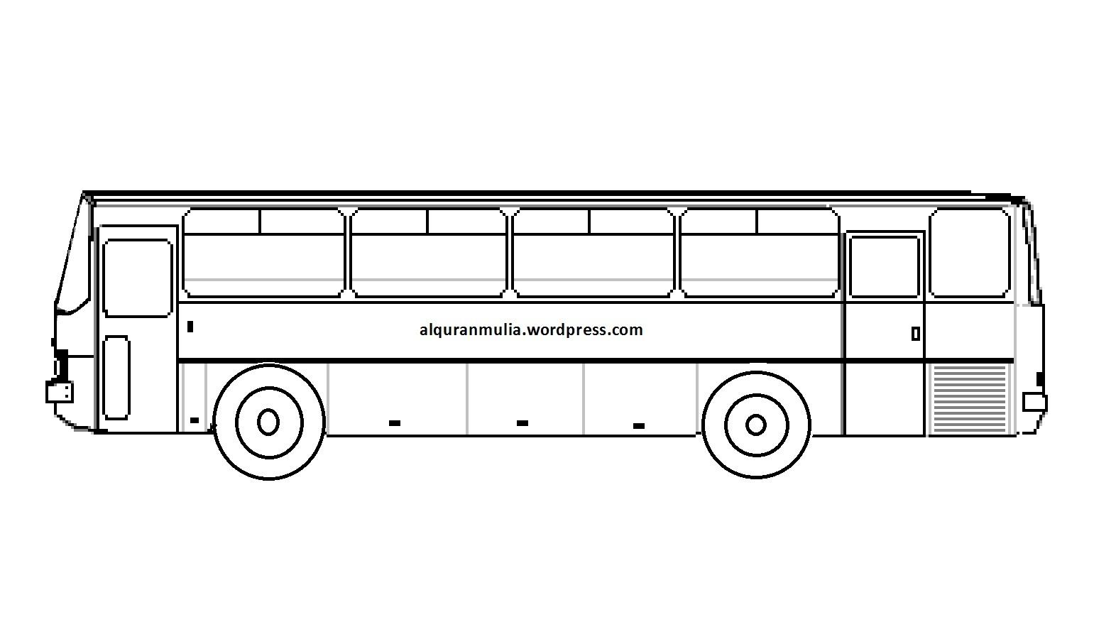 Mewarnai Gambar Bus 6 Anak Muslim Alquranmulia