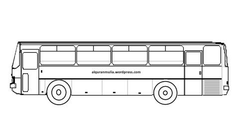 Mewarnai gambar bus6 anak muslim