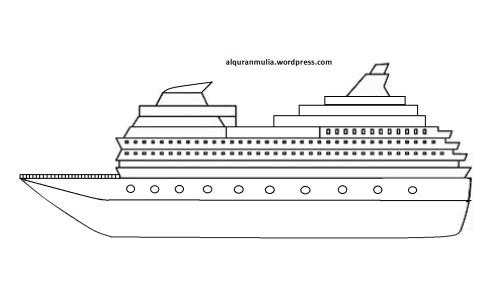 Mewarnai gambar kapal laut 4 anak muslim
