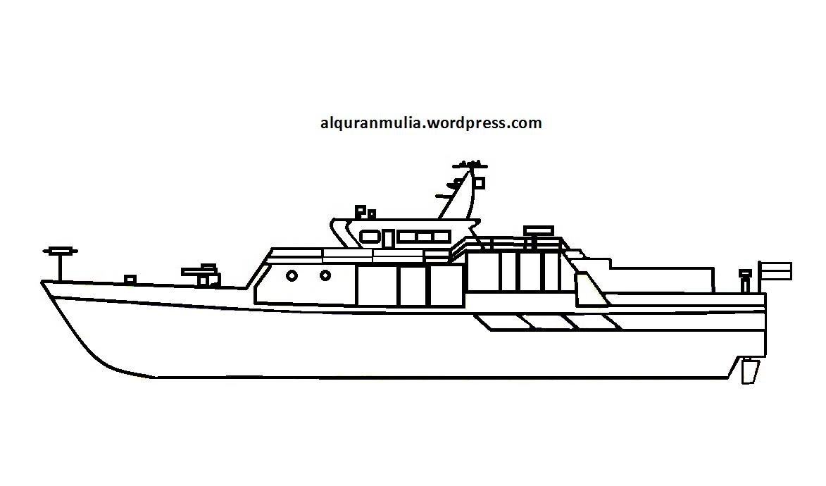 Mewarnai Gambar Kapal Laut 6 Anak Muslim Alqur Anmulia