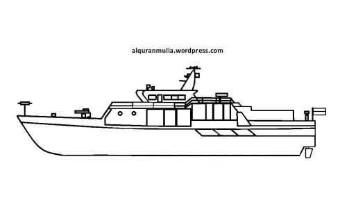 Mewarnai gambar kapal laut 6 anak muslim