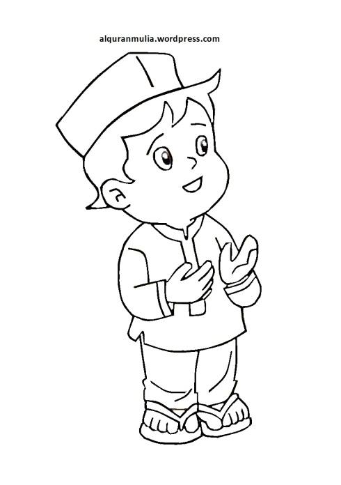 Mewarnai gambar kartun anak muslim 33