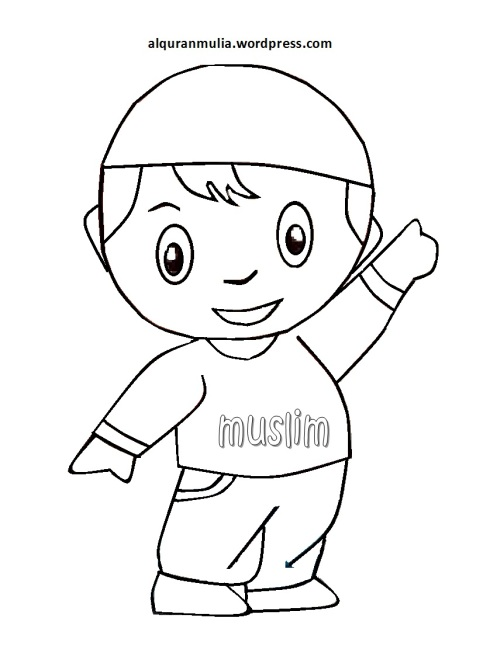 Mewarnai gambar kartun anak muslim 34