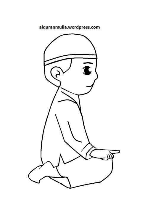 Mewarnai gambar kartun anak muslim 36
