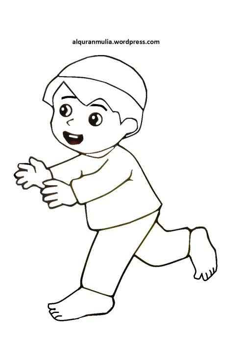 Mewarnai gambar kartun anak muslim 37