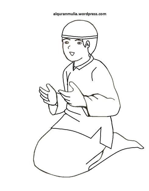 Mewarnai gambar kartun anak muslim 38