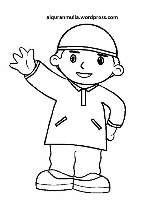 Mewarnai gambar kartun anak muslim 39