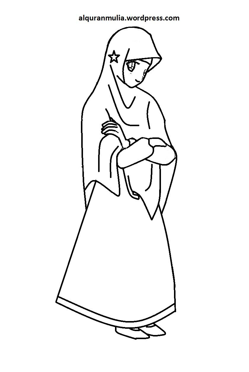 Mewarnai Gambar Kartun Anak Muslimah 100 Alquranmulia
