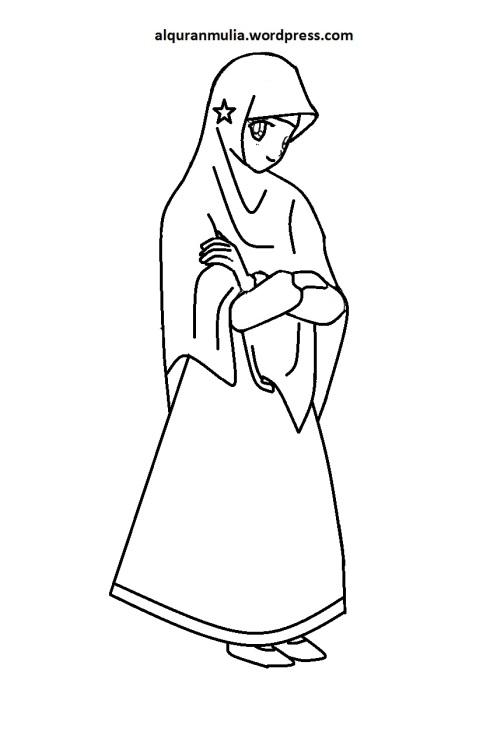 Mewarnai gambar kartun anak muslimah 100