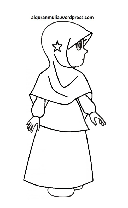 Mewarnai gambar kartun anak muslimah 103
