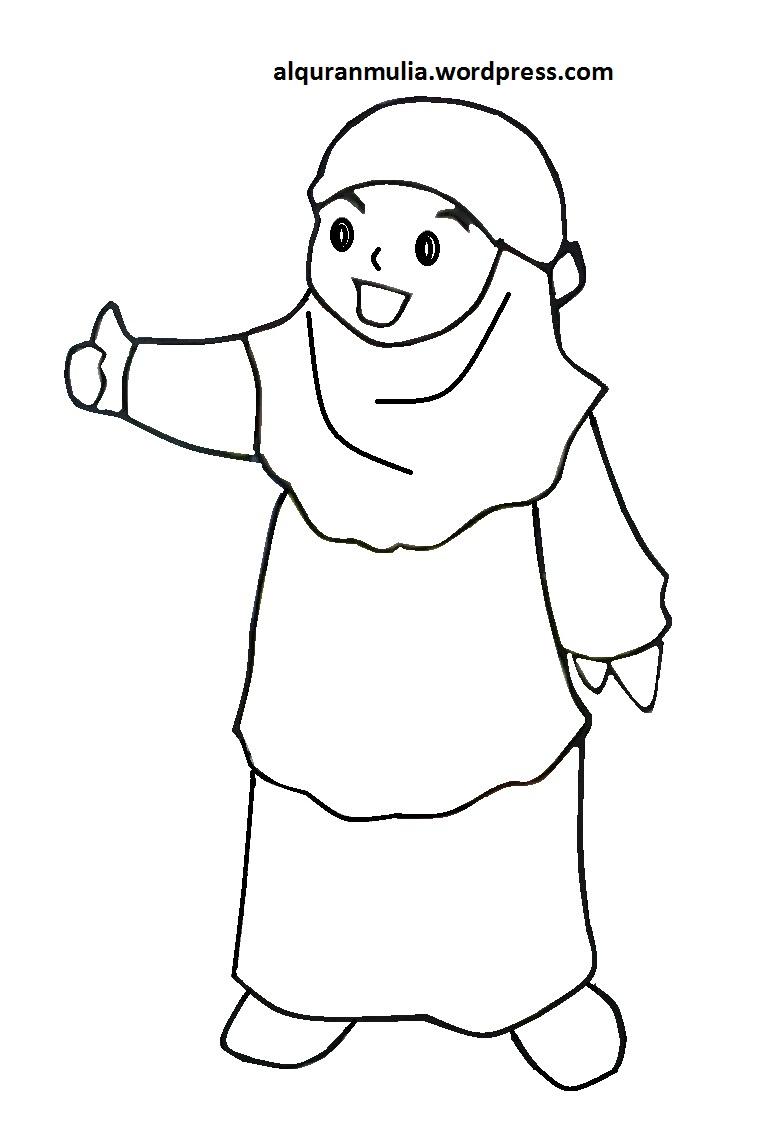Mewarnai Gambar Kartun Anak Muslimah 105 Alquranmulia