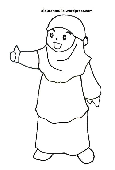 Mewarnai gambar kartun anak muslimah 105