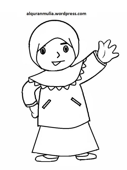 Mewarnai gambar kartun anak muslimah 106
