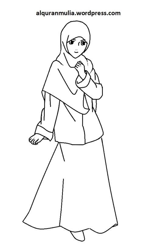 Mewarnai gambar kartun anak muslimah 108