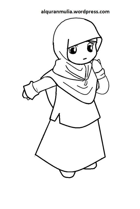 Mewarnai gambar kartun anak muslimah 109