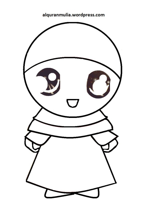 Mewarnai gambar kartun anak muslimah 110