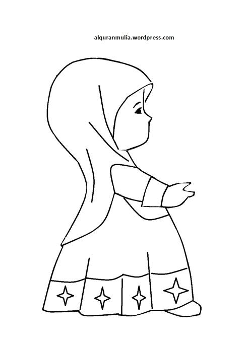 Mewarnai gambar kartun anak muslimah 77