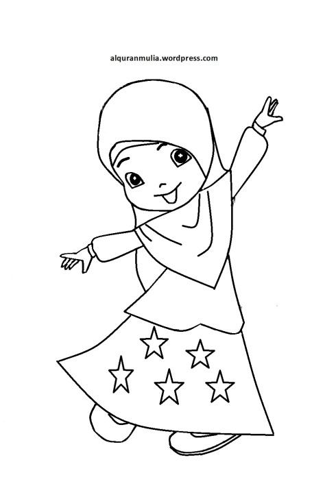 Mewarnai gambar kartun anak muslimah 78
