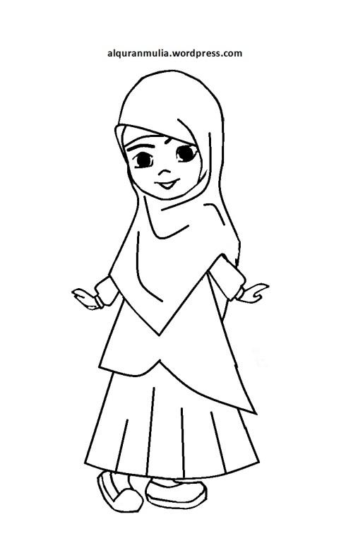 Mewarnai gambar kartun anak muslimah 79
