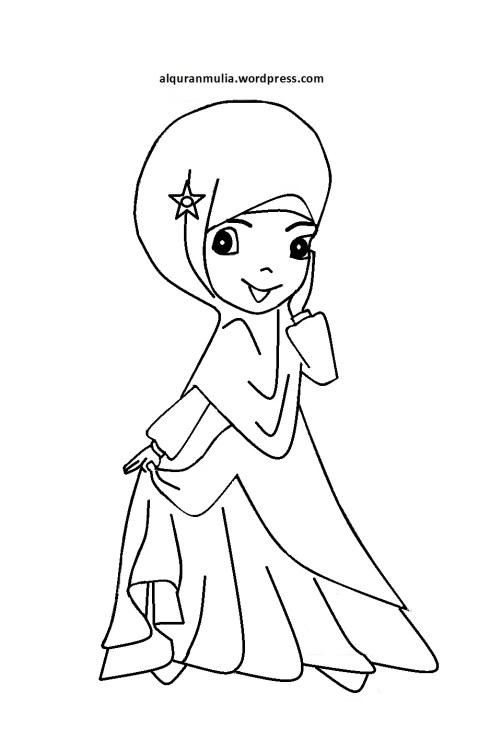 Mewarnai gambar kartun anak muslimah 80