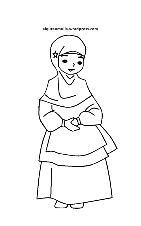 Mewarnai gambar kartun anak muslimah 81