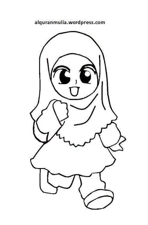 Mewarnai gambar kartun anak muslimah 83