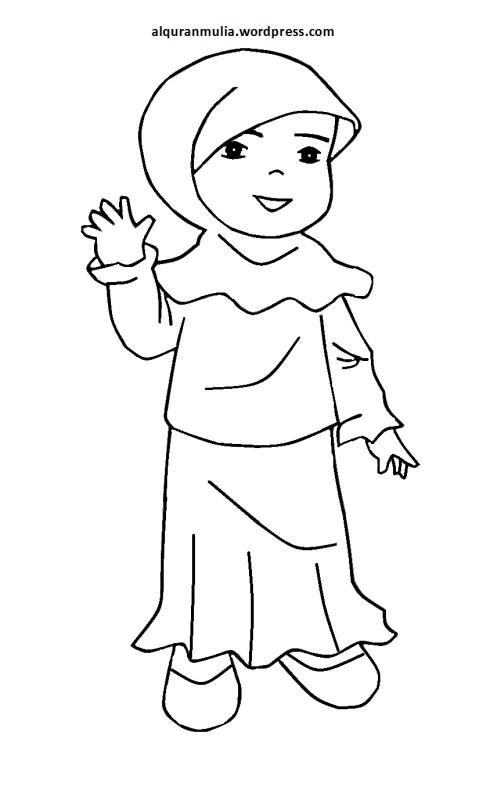 Mewarnai gambar kartun anak muslimah 84