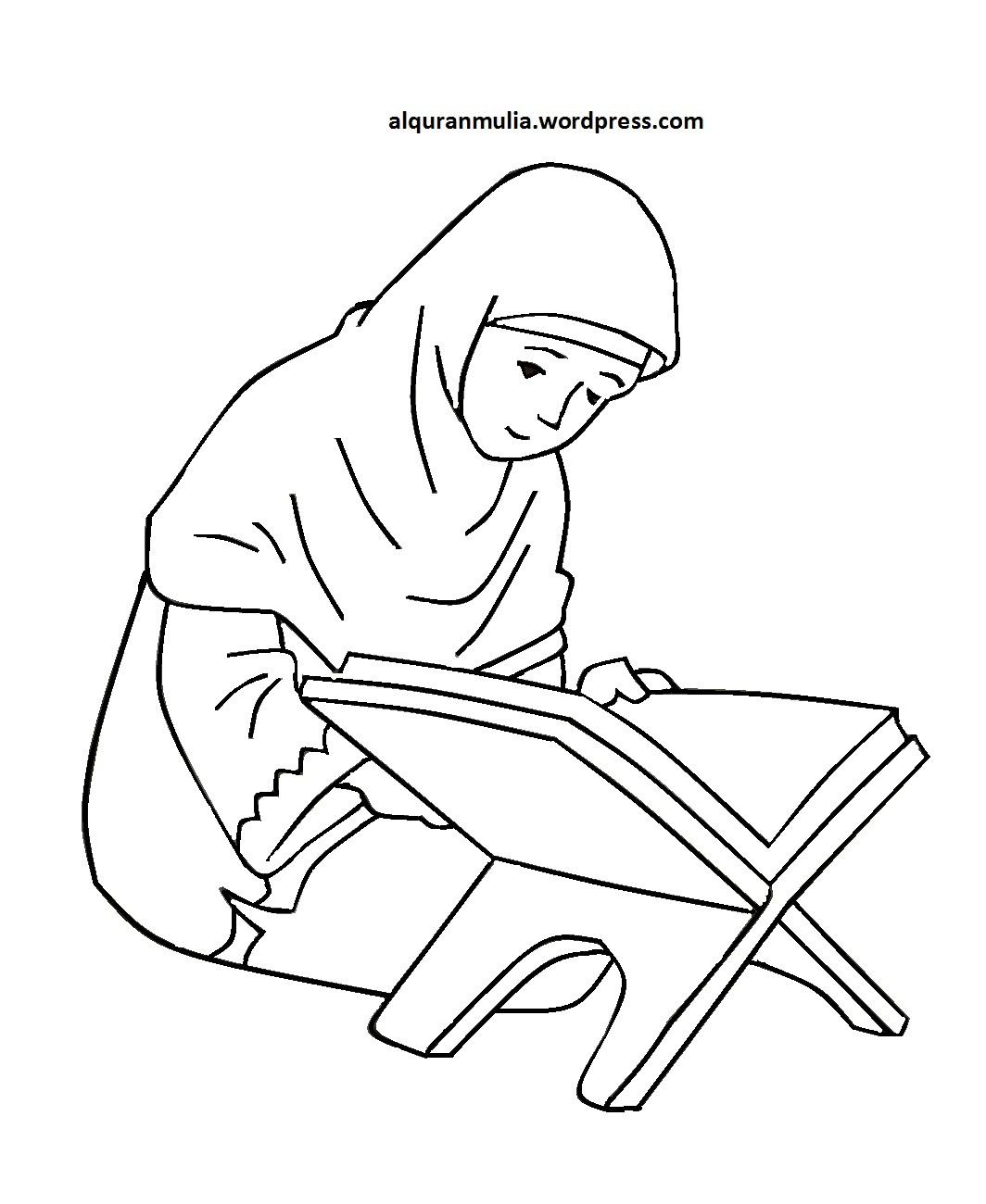Mewarnai Gambar Kartun Anak Muslimah 85 Alquranmulia