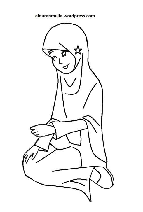Mewarnai gambar kartun anak muslimah 87