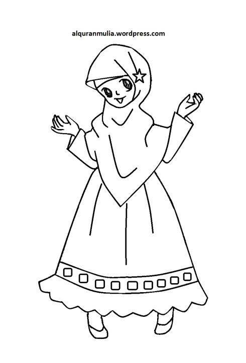 Mewarnai gambar kartun anak muslimah 89