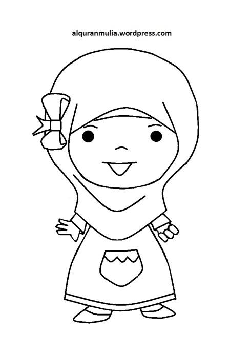 Mewarnai gambar kartun anak muslimah 90