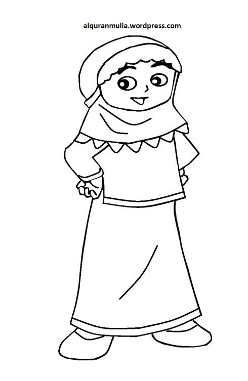 Mewarnai gambar kartun anak muslimah 91
